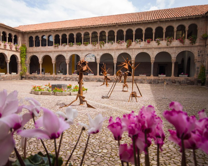 Sculpture Garden of Qorikancha in Cusco Peru with kids on a 14 day Peru itinerary