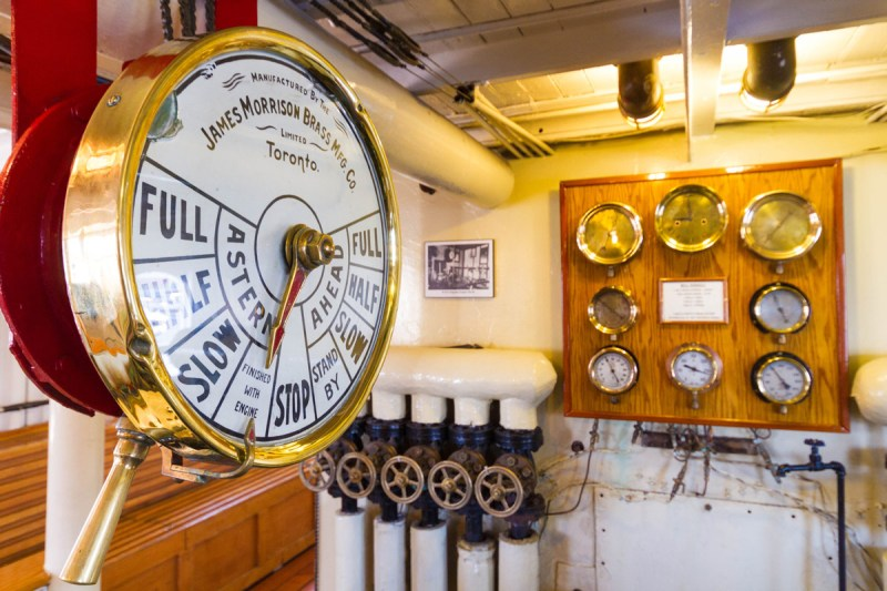 The engine room of the Lake Muskoka Steamship RMS Segwun in Huntsville Ontario. This antique style is just part of a Lake Muskoka Steamship Cruise experience