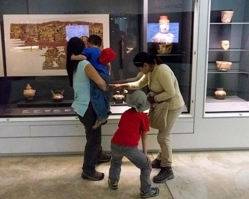 Checking out the artifacts of the Pachacamac Museum in Lima Peru with kids