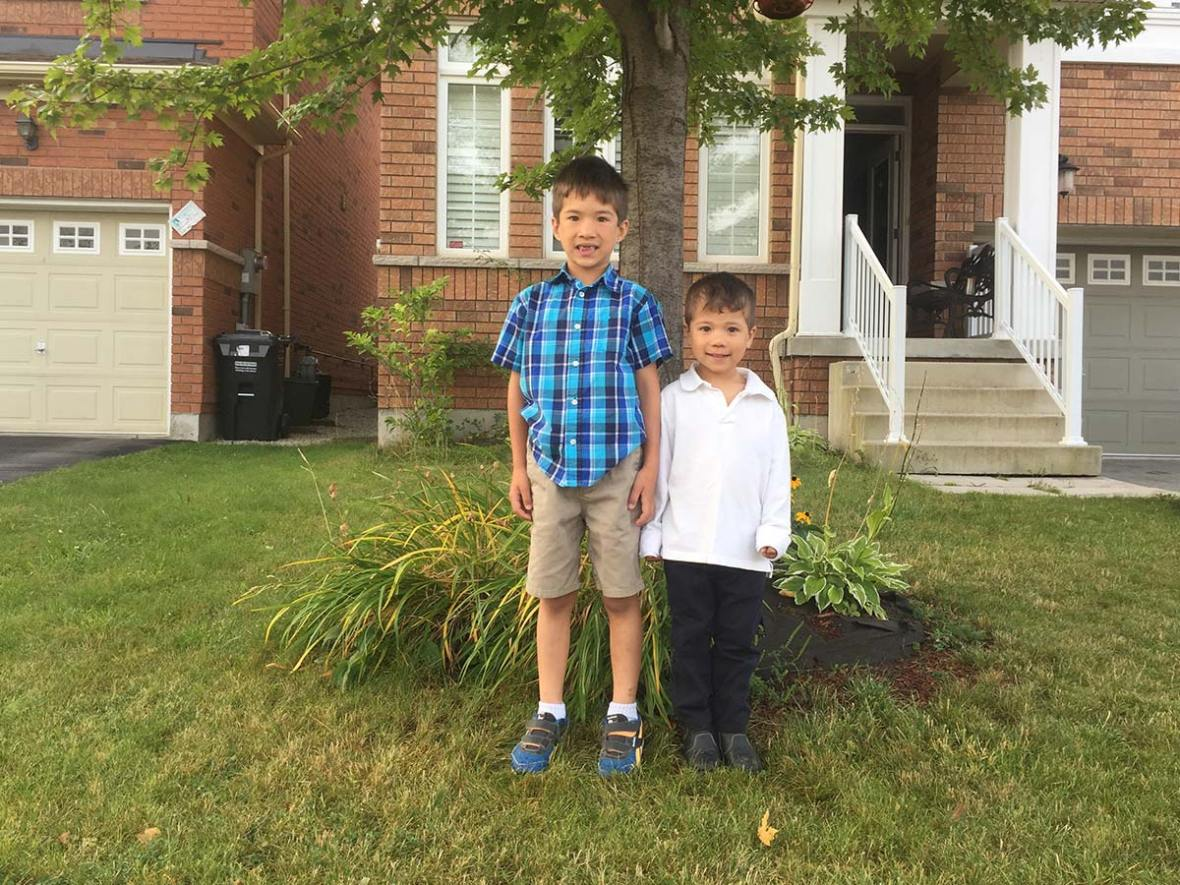 Wagar boys doing that awkward first day of school pose