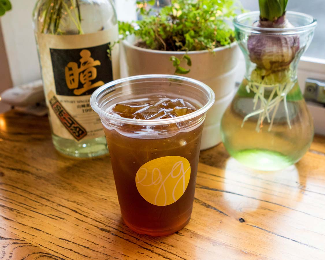 Cold brewed tea served at Egg Coffee house in Shanghai China