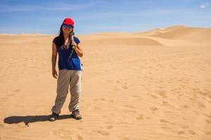 family travel expert Christina Wagar in Huacachina Peru