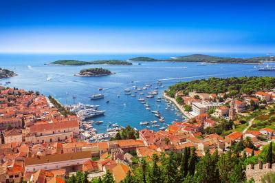 Hvar Harbor while Family Sailing in Croatia