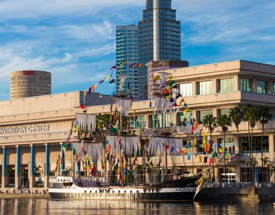 A flag covered boat in Tampa Bay Florida