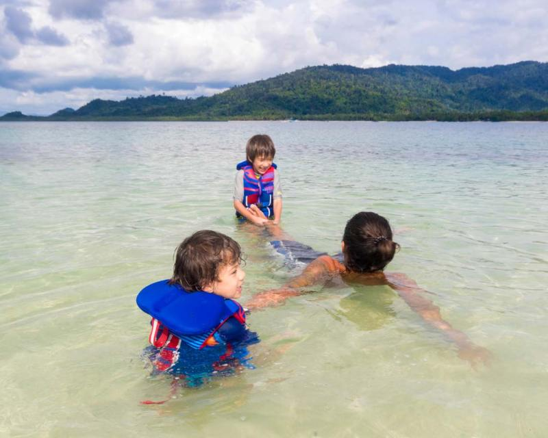 Boys playing in El Nido Palawan with kids