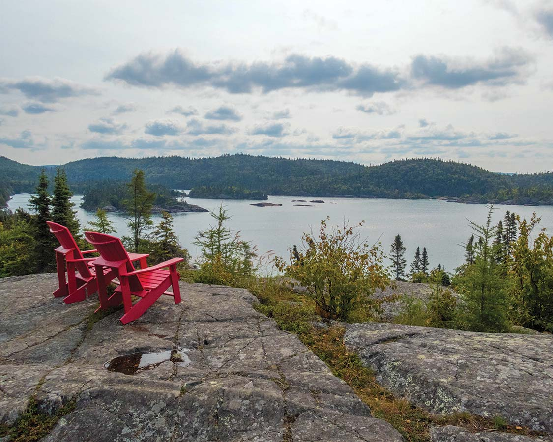 National Park Red Chairs in Pukaskwa National Park