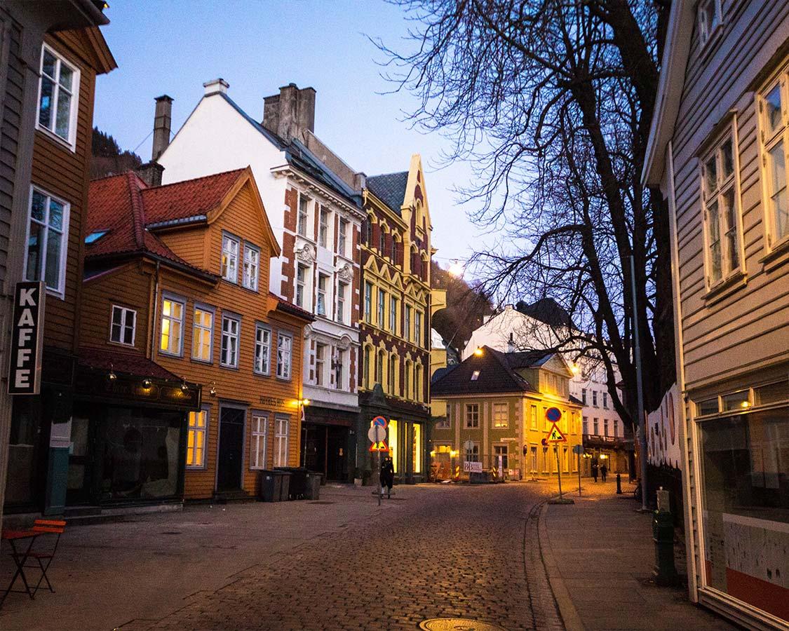 Cobblestone streets of Bergen Norway