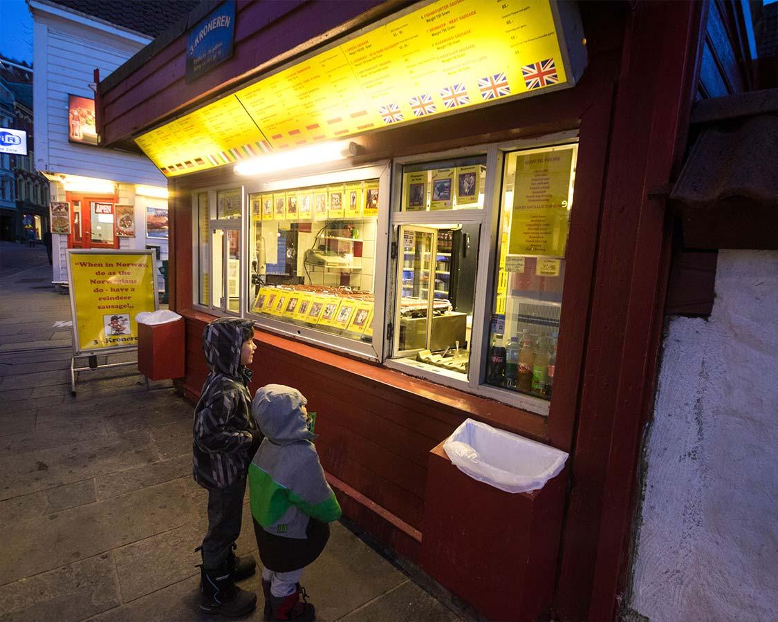 Trekroneren hot dog stand in Bergen Norway