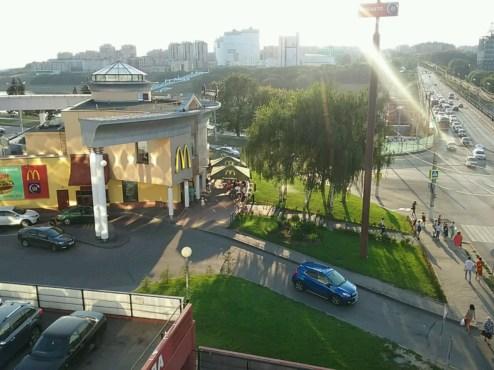 Das Zentrum von Cheboksary im späten Licht des Nachmittags.