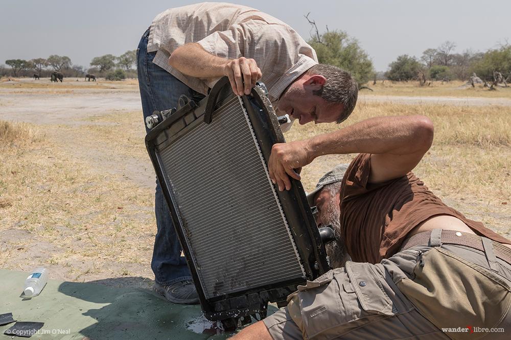 Repairing the Radiator as Elephants Pass in the Background in Khwai, Botswana