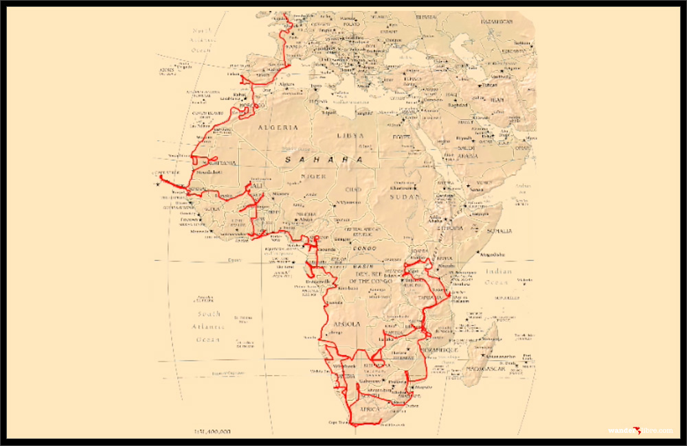 A map of our route across Africa (2006-2008)