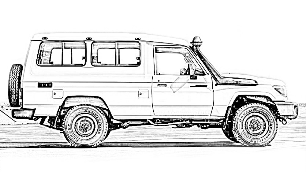 A sketch of a Land Cruiser 78 Series Troop Carrier