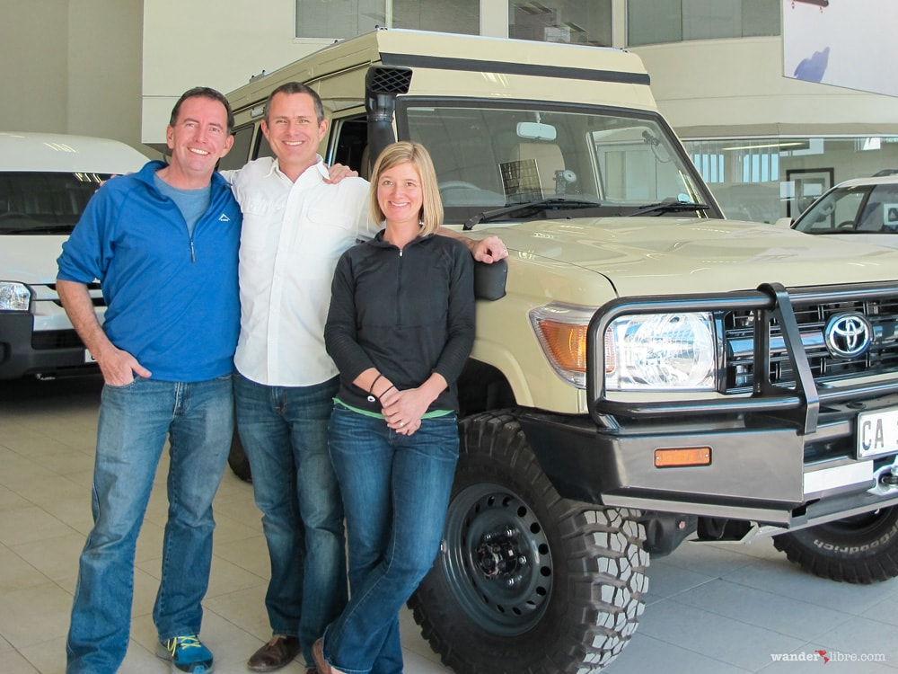 Posing for photos with Paul Marsh at Market Toyota Colemborg in Cape Town South Africa after completion of Land Cruiser Troopy camper conversion