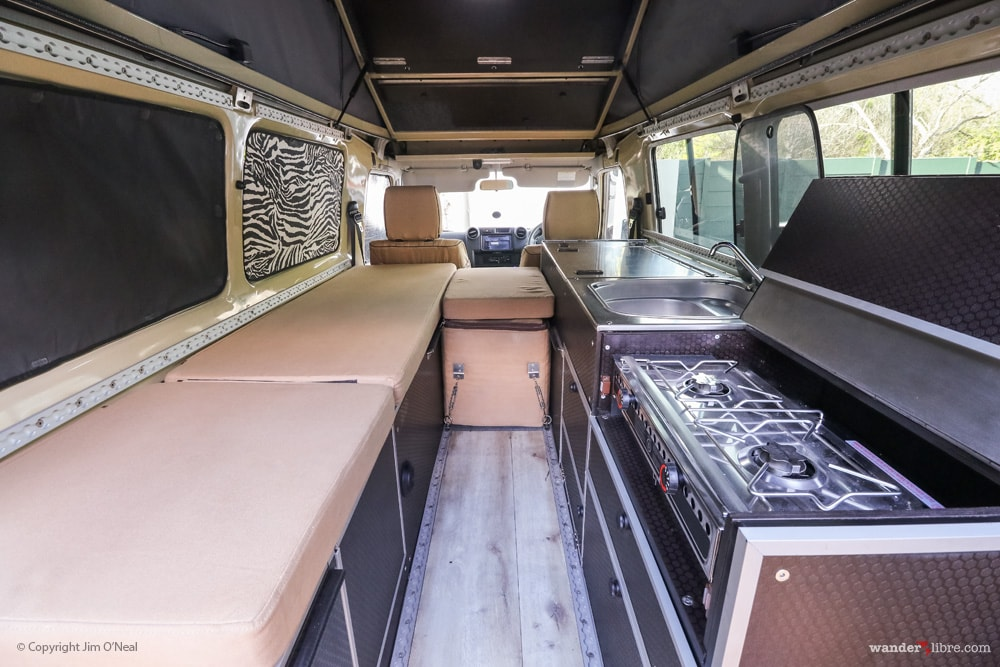 Land Cruiser Troopy Seating Area, Stove, & Sink