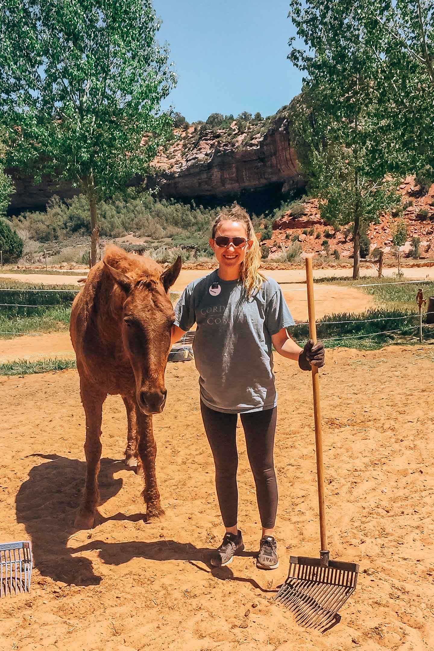Hannah standing next to a horse and holding a rake while volunteering at Best Friends Animal Society Sanctuary