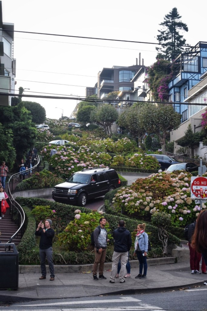 Cars lined up on Lombard Street