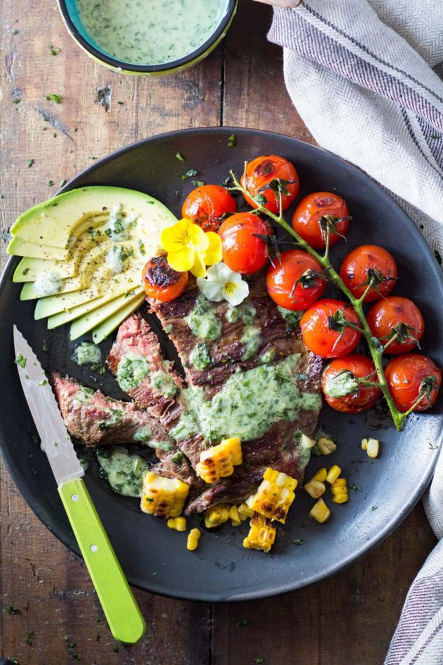 skirt steak with basil cream and grilled tomatoes
