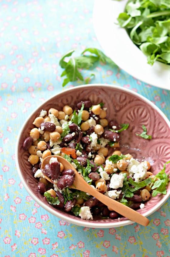 chickpea kidney bean feta salad