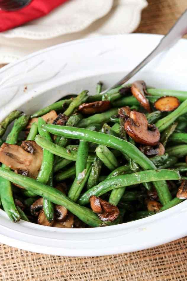 Sautéed Green Beans and Mushrooms