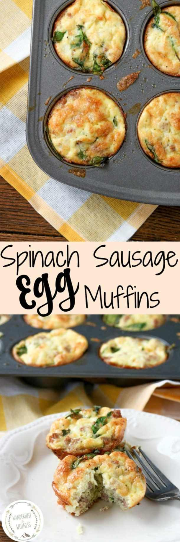 Spinach Sausage Egg Muffins