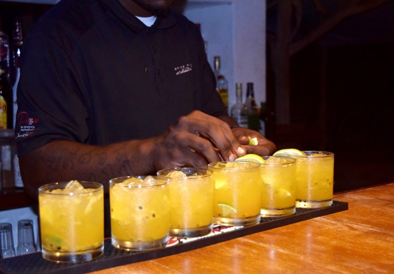 Cocktails at Spice Mill Restaurant, St Kitts