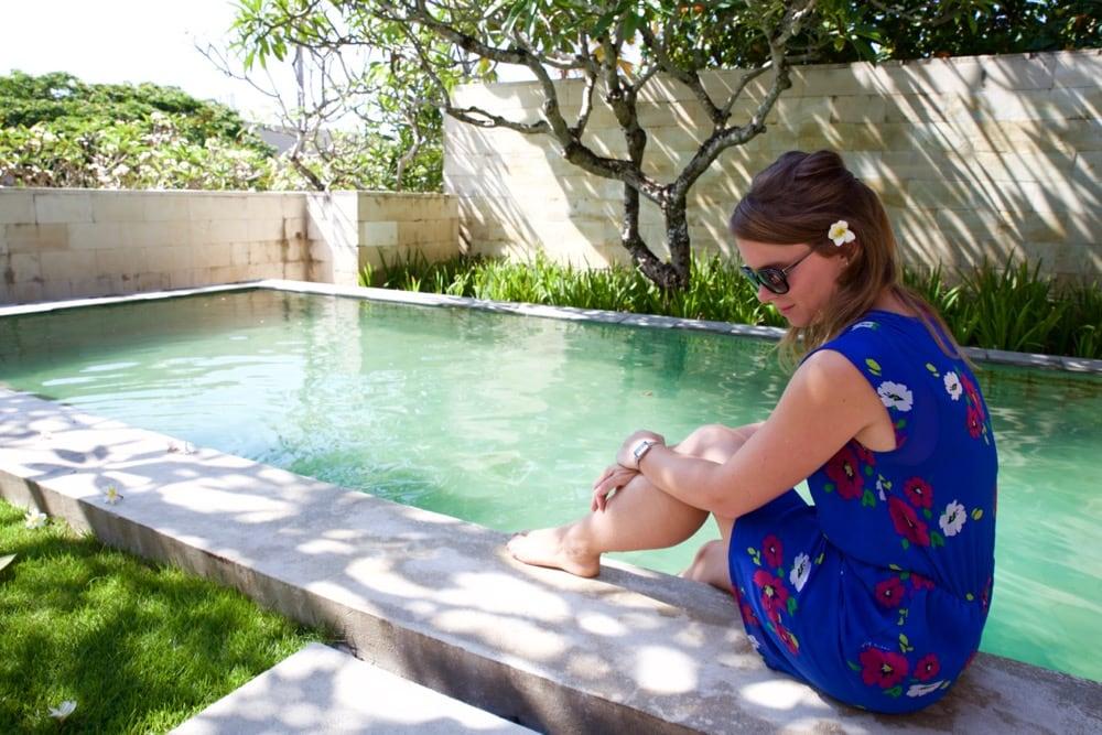Enjoying our private pool at The Bale, Nusa Dua, Bali