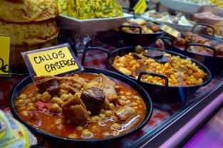 Tasty food on display at Mercado Central de Atarazanas, Malaga, Spain