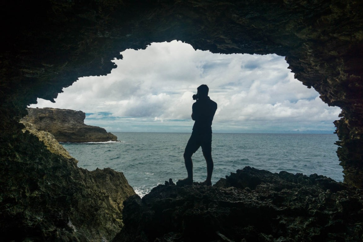 Macca snapping pics at the Animal Flower Cave, Barbados