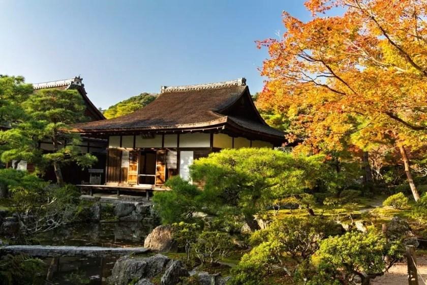 View of Ginkaku-ji temple in Kyoto.