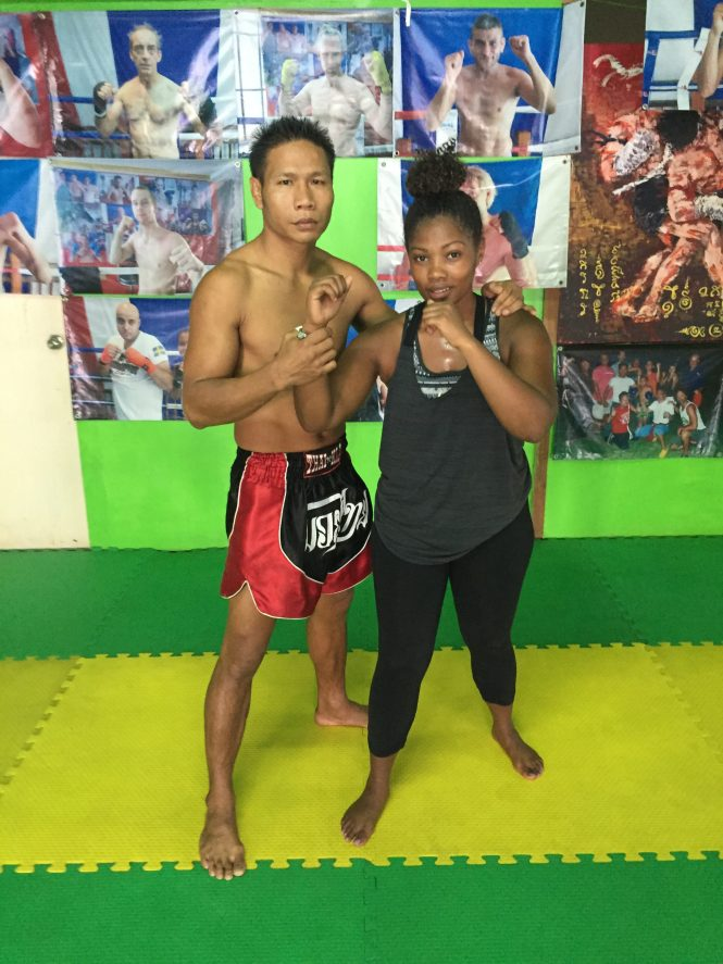 Nina With her Muay Thai boxing coach in Chiang Mai