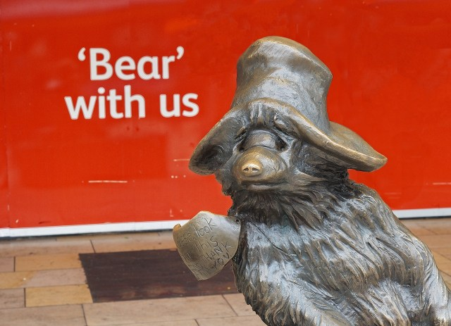 Bronze statue of Paddington Bear, London, Michael Bond
