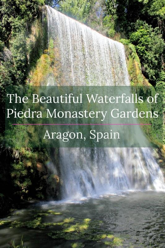 The beautiful waterfalls of Piedra Monastery Gardens, Zaragoza, Aragon, Spain
