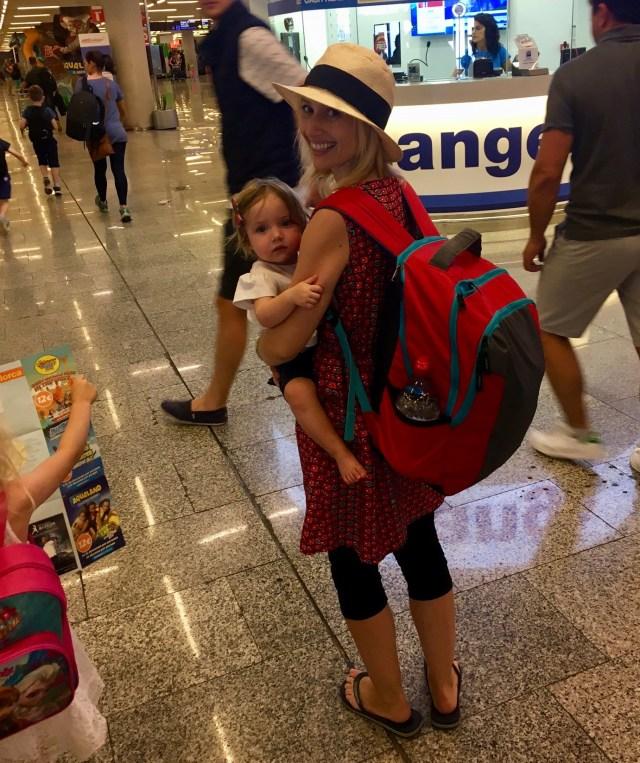 Wander Mum wearing American Tourister rucksack