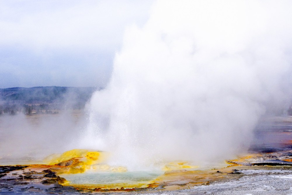 Eruption of a geyser in Yellowstone National Park