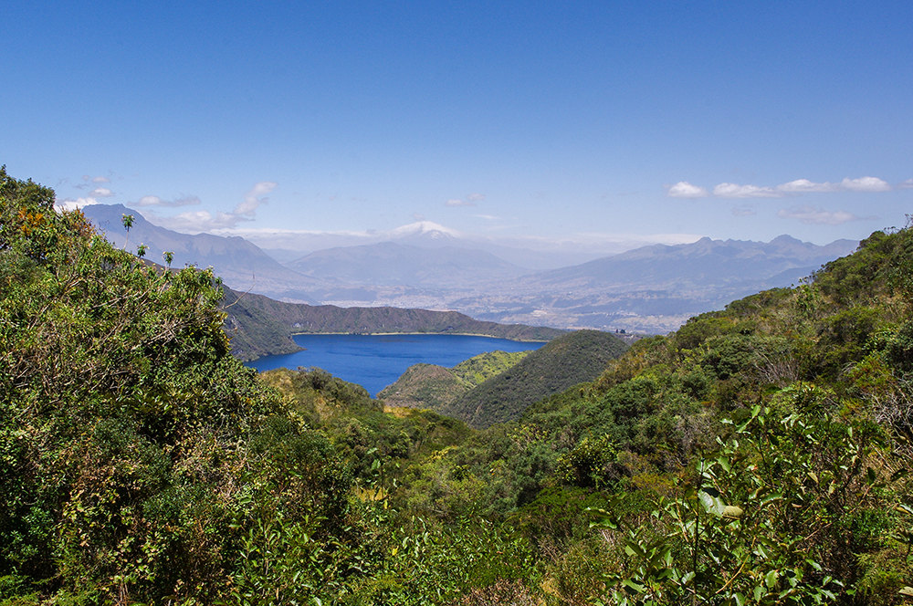 View over the lake from the Laguna Cuicocha hike