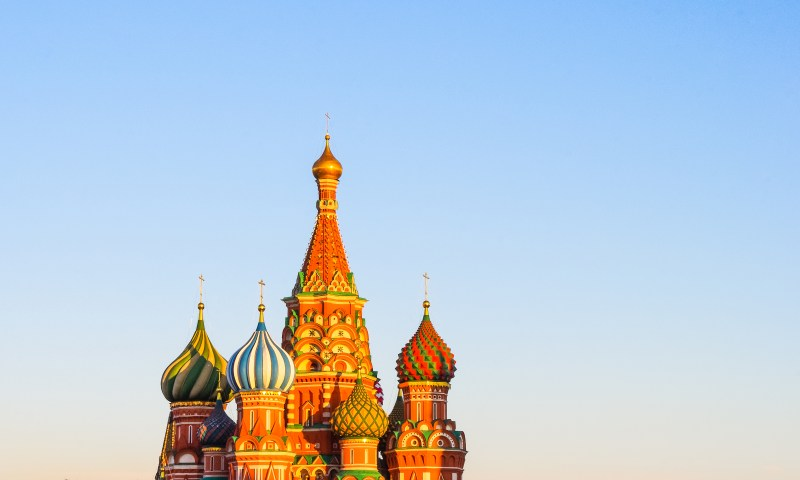Saint Basil's Cathedral standing on the Red Square in Russia.