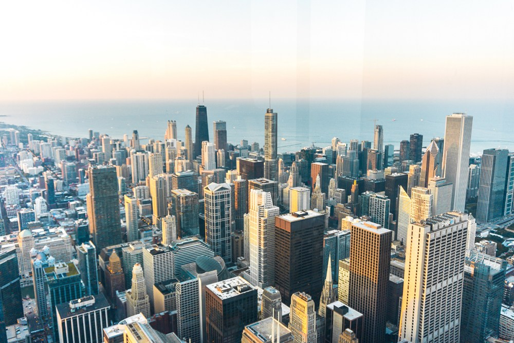 Chicago from above at the Willis Tower's Skydeck.