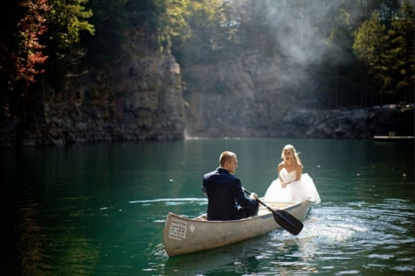 Image of married couple in boat