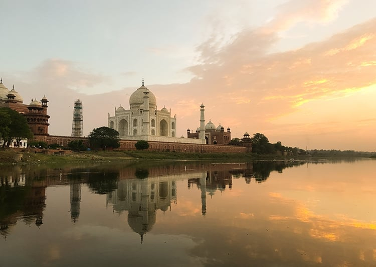 Sunset over the Taj Mahal in India