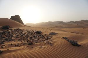 sunrise in meroe by the forgotten pyramids of Sudan