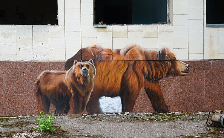 Street art of brown bears in Pripyat
