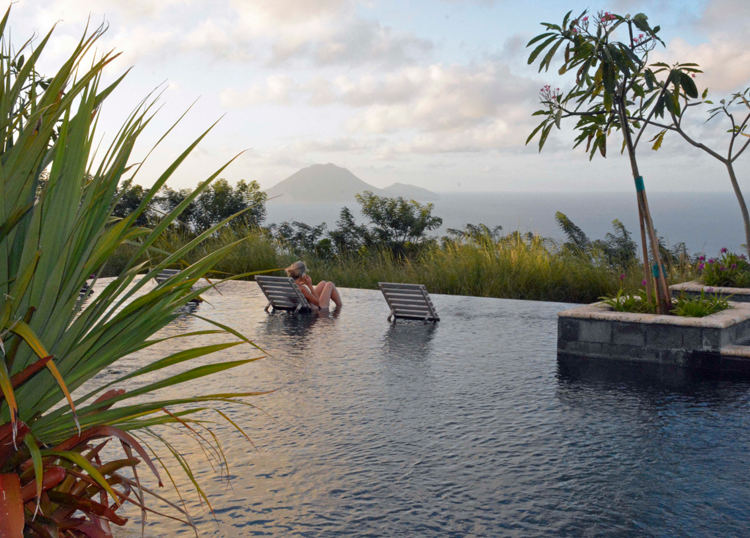 An image of the infinity pool at Belle Mont Farm