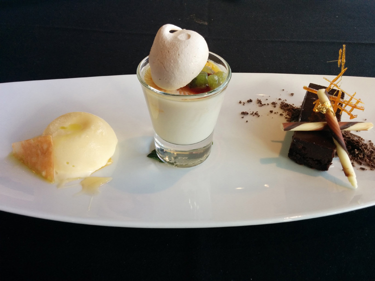 An image of a dessert plate at the Three Ravens Restaurant and Wine Bar