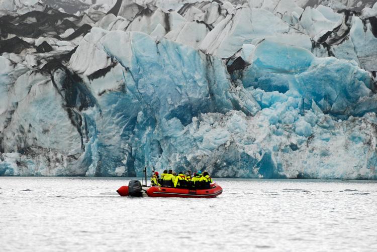 Image of zodiac tour of Jökulsárlón Glacier Lagoon in Iceland