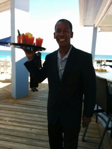 An image of a waiter with the light behind the subject