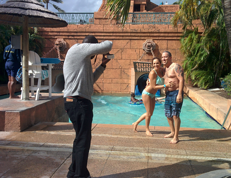 An image of a couple posing for a picture in the Aquaventure Water Park at Atlantis Resort, Paradise Island, Bahamas