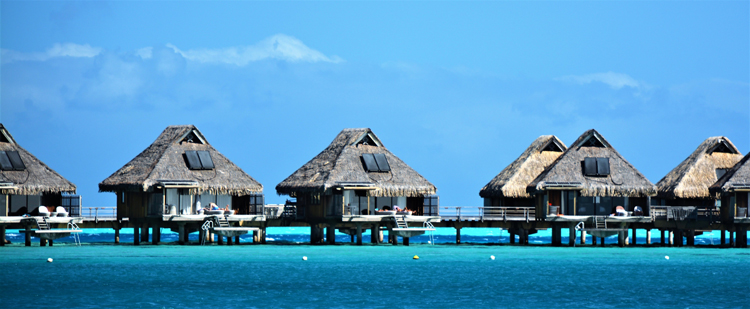 An image of over-the-water bungalows in Bora Bora French Polynesia