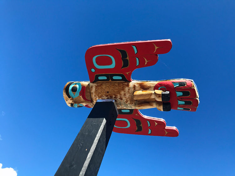 An image of totem from the Carcross Tagish First Nation in Carcross, Yukon