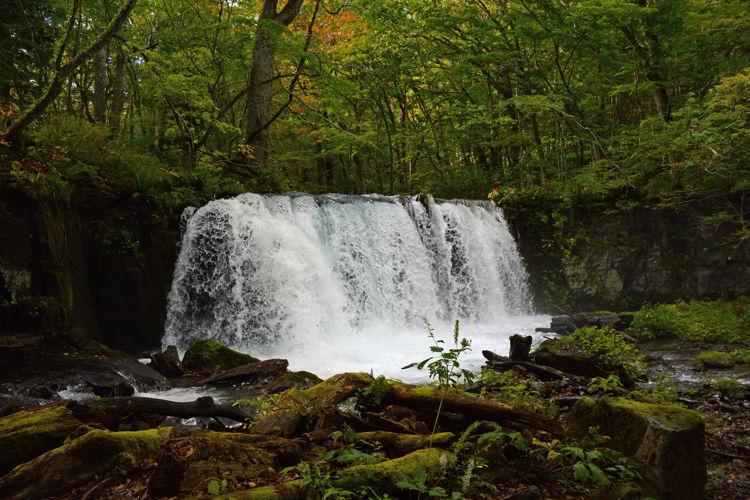 An image of Choushi Ohtaki Waterfall in Oirase Gorge near Aomori, Japan - Lake Towada and Oirase Gorge