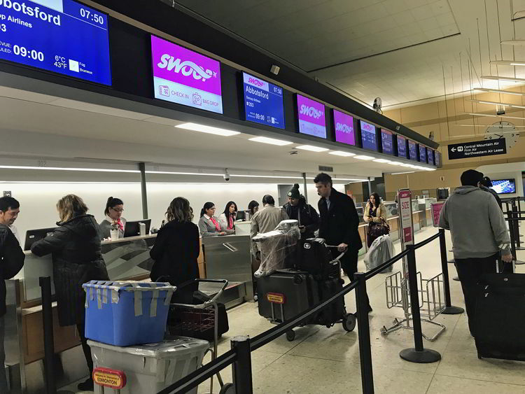 An image of the Swoop check-in counter - Swoop Airlines review